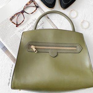 Green Handbag With Gold Hardware